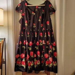 Party dress-black with roses